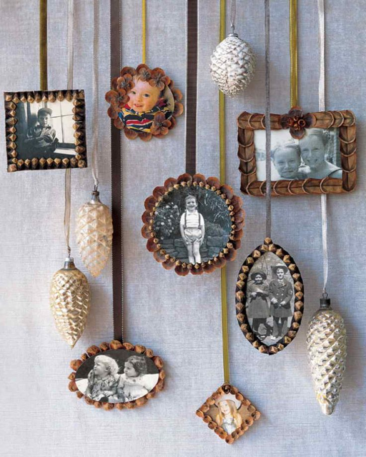 cute idea. as a post wedding xmas gift? with our wedding pic with them in it.  Pinecone Picture-Frame Ornaments