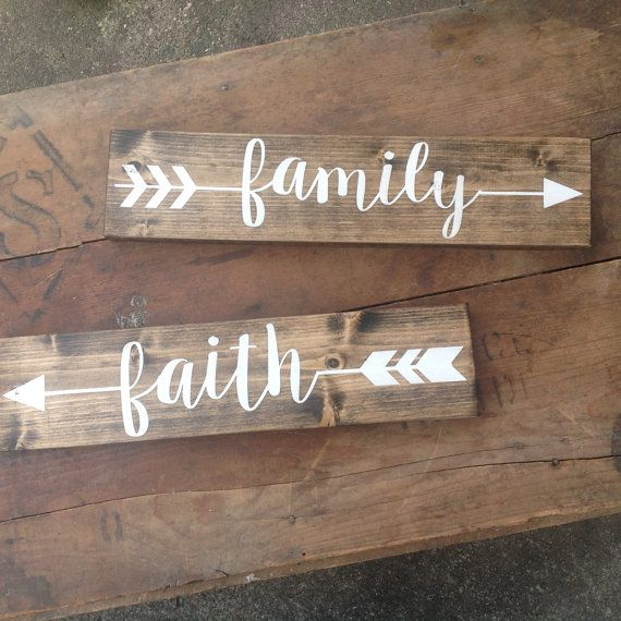 ARROW Wood Sign - (pick one) - rustic sign, Family, Love, Faith, Hand painted, Home decor