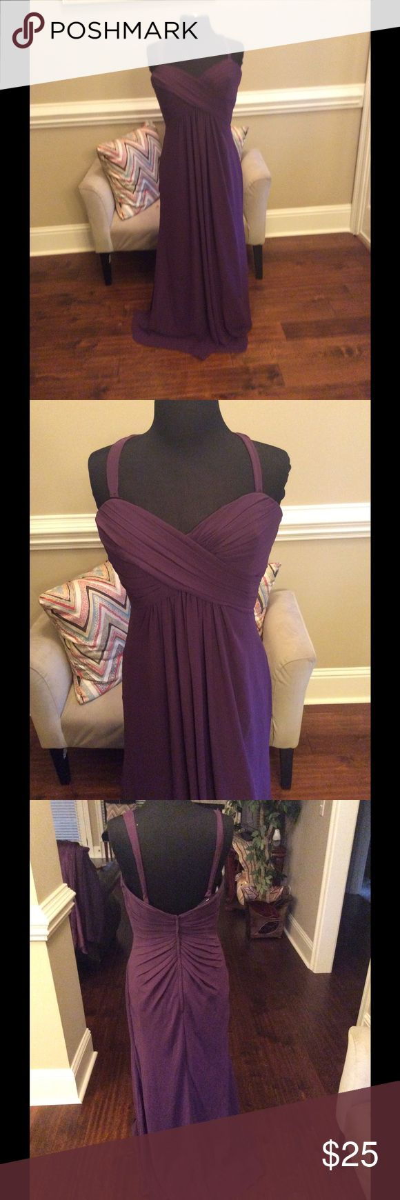 Eggplant chiffon formal gown Eggplant chiffon formal gown. Runs small fits a size 8 perfect Bari Jay Dresses Wedding