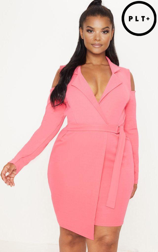 Plus Coral Cold Shoulder Ring Detail Blazer Dress | PLUS ...