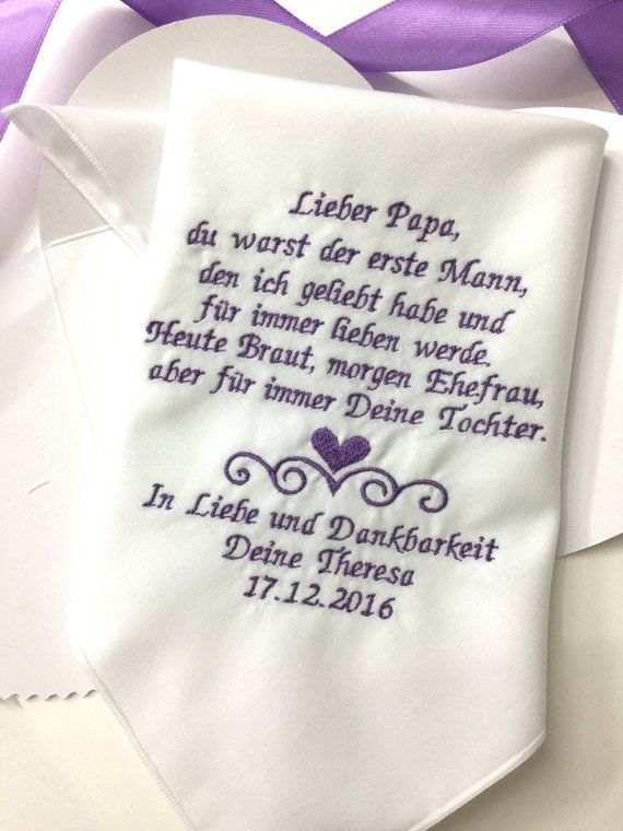 German Version Papa Wedding Handkerchief -Father Of Bride-Vater der Braut Hochzeit Taschentuch- Embroidered-Free Gift Box/1339