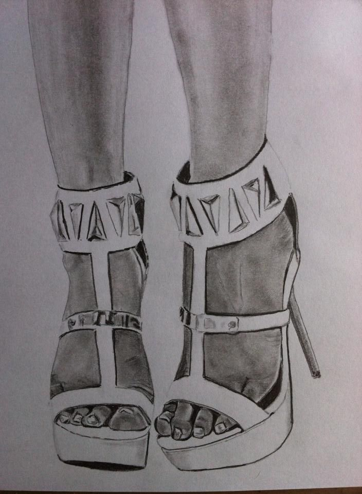 Pencil drawing shoes www.inesreder.com