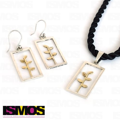 ISMOS Joyería: juego de aretes y dije en plata con detalles dorados // ISMOS Jewelry: earrings and pendant set, made of silver with gold plated details