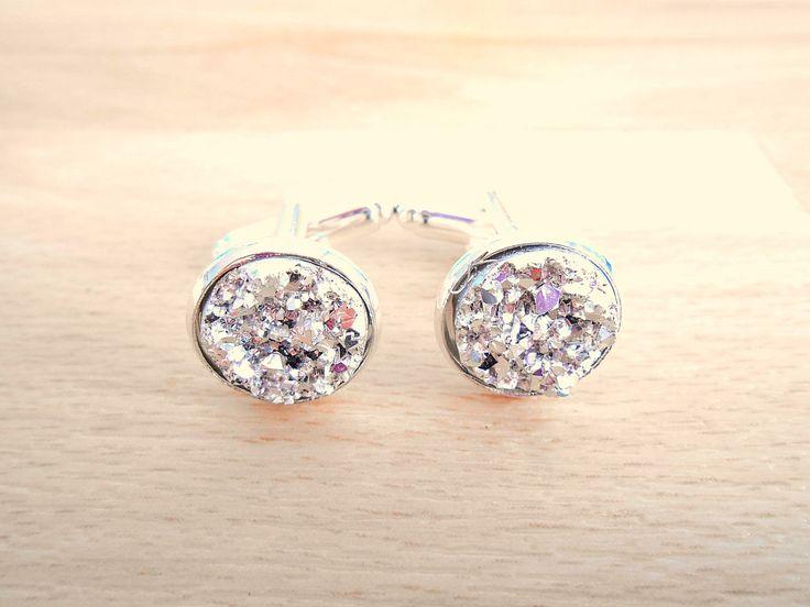 Silver Druzy Cufflinks - Round Cufflink - Cuff Links For Groom - Wedding Cufflinks - Mens Accessories by SkadiJewelry on Etsy