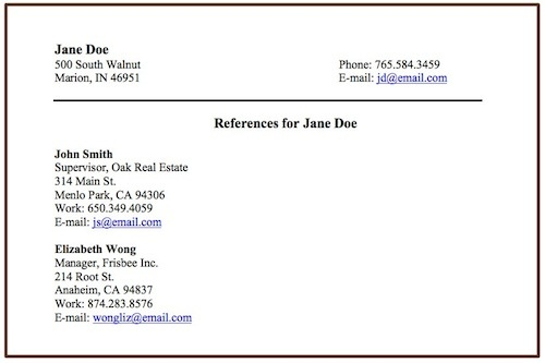 how to list references on a resumes