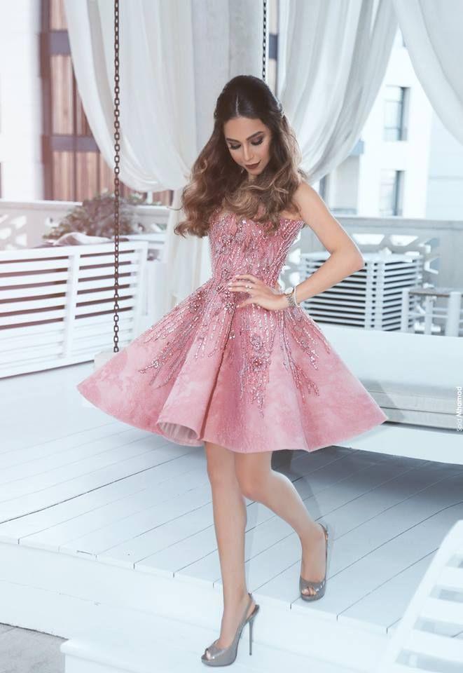 Rosa cocktailkleid Kurz A Linie Perlen Festliche Kleider