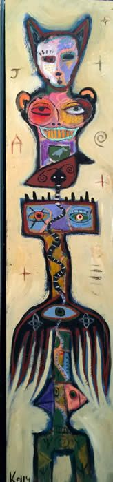 Smile Totem by New Mexico Self Taught Artist Kelly Moore…Neo Folk, Neo Outsider, Flea Market Artist Extraordinaire at the Infamous Dark Bird Palace