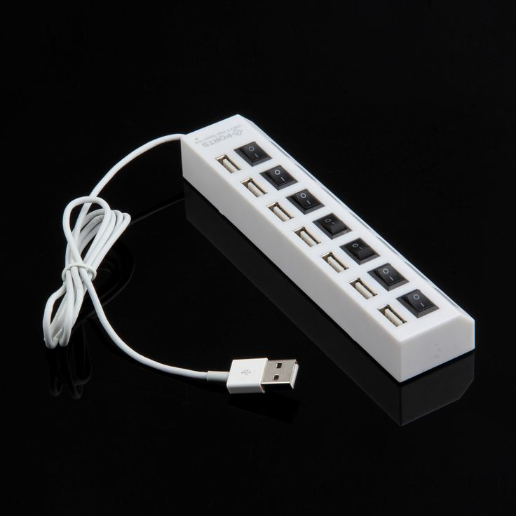 7 Port USB 2.0 Power Hub  ON/OFF Switch 7-port USB Hubs with High Speed US Plug AC Adapter For PC Laptop MAC White Wholesale