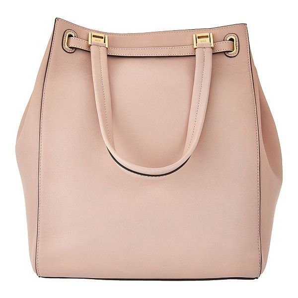 G.I.L.I. Smooth Leather Large Tote Bag ($362) ❤ liked on Polyvore featuring bags, handbags, tote bags, pink handbags, pink tote handbags, handbags totes, tote purses and pink tote bags