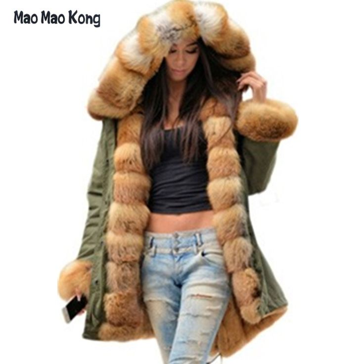 367.99$  Buy now - http://aliq7p.shopchina.info/1/go.php?t=32773744301 - Brand American Military Camouflage Army Parka Long Women Military Coat with Thick Real Saga Fox Fur Hooded Wadded Jacket  #magazineonlinebeautiful