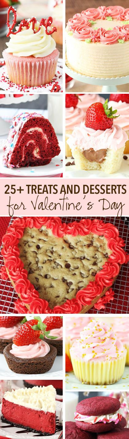 25+ awesome treats and desserts for Valentine's Day! Everything from cookies and puppy chow, to cake and cupcakes!