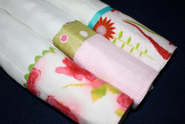 Colorful Burp Cloth Set for a Baby Girl, Set of Three (3)   $20.00 via Etsy    www.hankorange.com