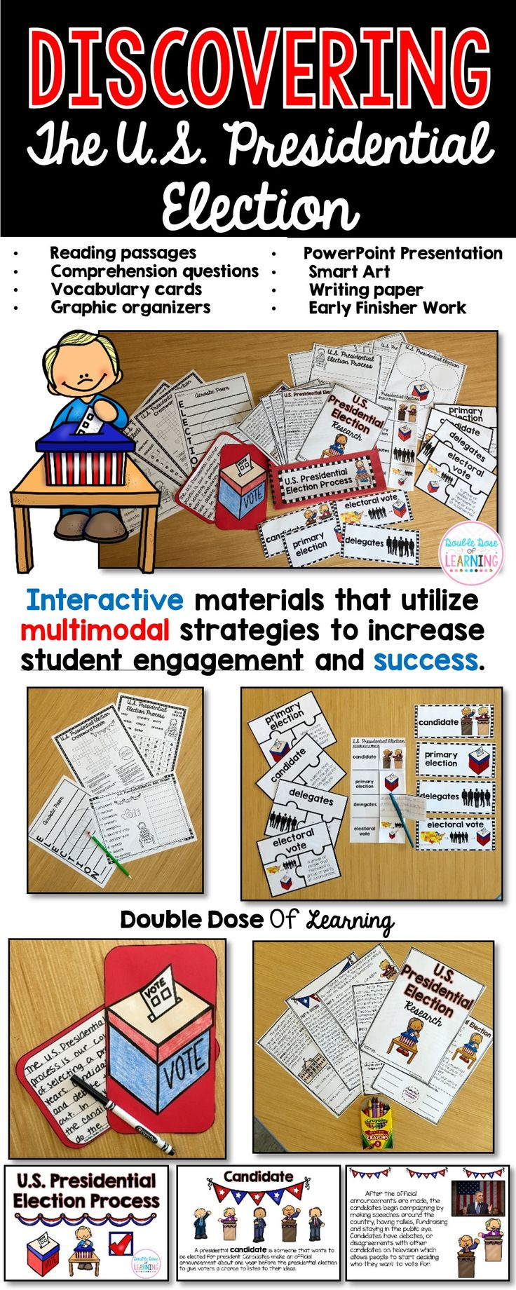 Get your students excited about the United States of America Presidential Election Process and 2016 Presidential Election with this comprehensive pocketbook unit. The materials in this unit are interactive and utilize multimodal strategies to increase student engagement and outcomes. The unit integrates technology, vocabulary, writing, art, reading strategies and more!