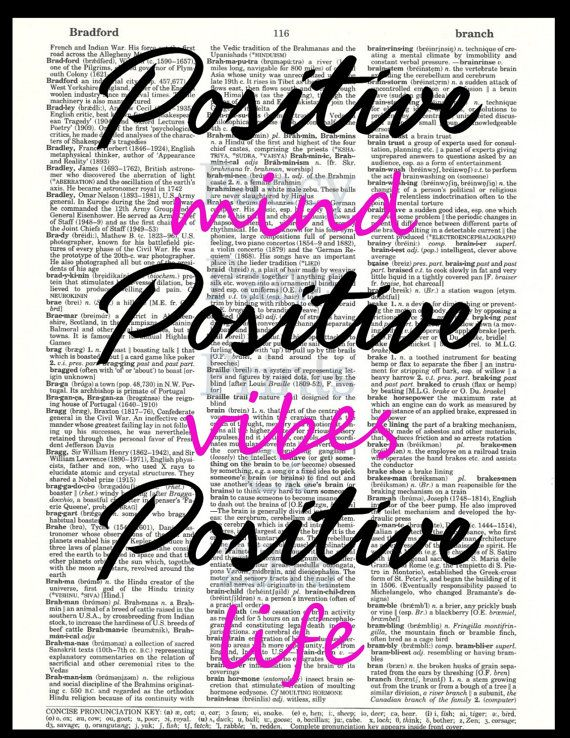 Positive Mind, Positive Vibes, Positive Life. Dictionary Art Print