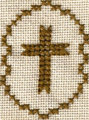 Free Cross Motif Patterns - Cross Stitch and Back Stitch Charts: Stitched Model of Free Small Cross Motif Cross Stitch Pattern