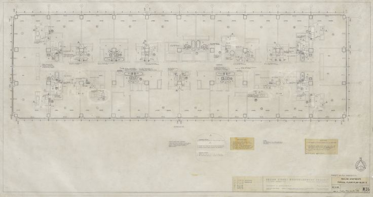 """Ludwig Mies van der Rohe. Pavilion Apartments, Newark, New Jersey (Floor plan). 1958-1959. Pencil on paper. 31 1/4 x 59"""" (79.4 x 149.9 cm). Mies van der Rohe Archive, gift of the architect. MR5801.124. © 2017 Artists Rights Society (ARS), New York / VG Bild-Kunst, Bonn. Architecture and Design"""