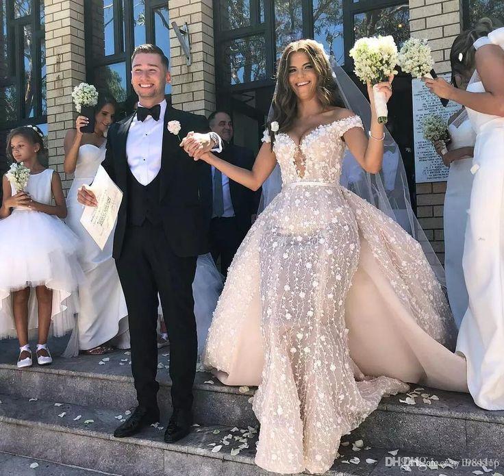 Robes de mariée sexy sirène hors l'épaule 2018 avec train détachable, plus …