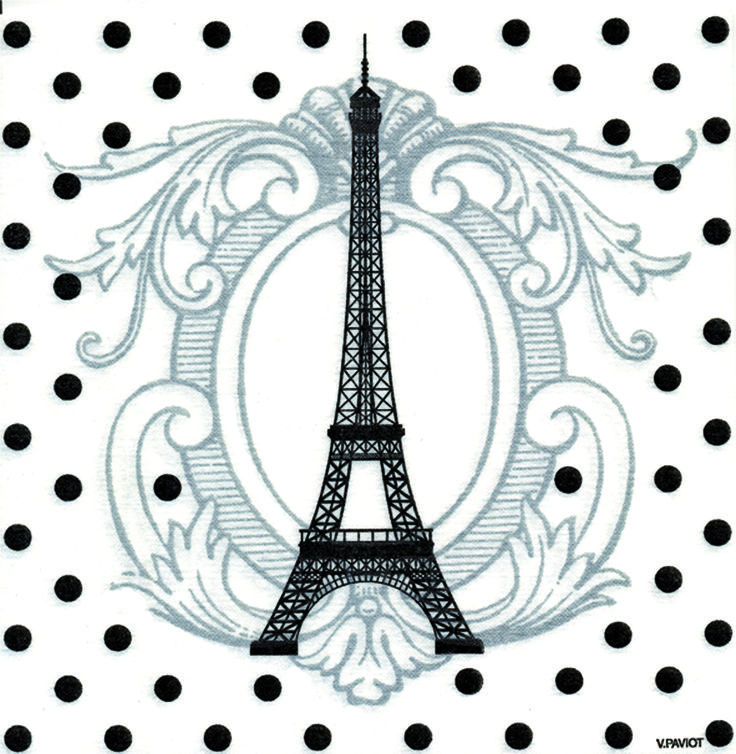Serviettes de table. La tour Eiffel dans tous ces états. Pour décorer votre table pour vos diners entre copines...