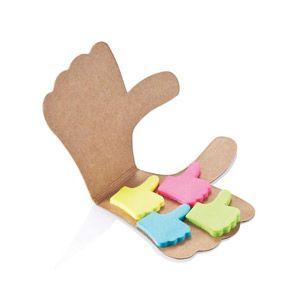 Notas adhesivas de papel en 4 colores: rosa, verde, azul y amarillo todos unidos en un pulgar de cartón. Diseño registrado ®