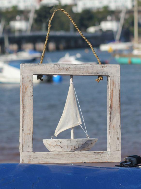 Christmas Gift Ideas: Handmade Whitewash Boat in Frame Wall Hanging | Fair Trade Gift Store | Siiren
