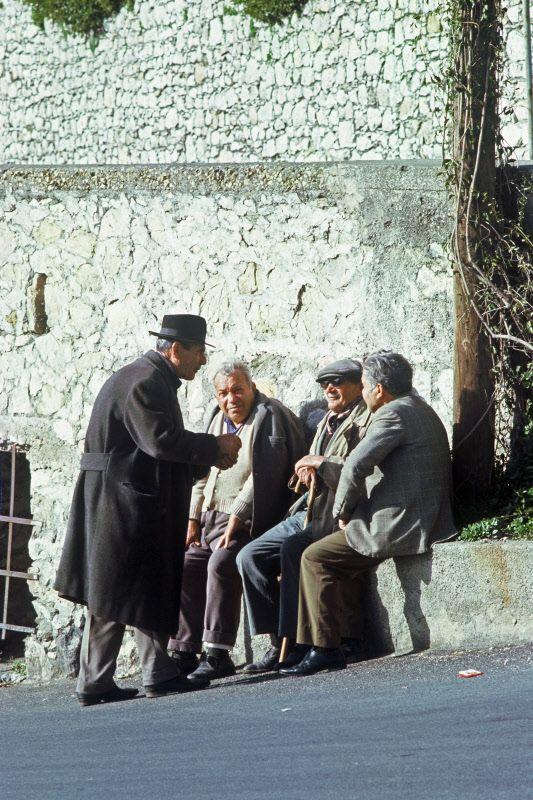 Meeting on a Taormina Street, Taormina, Sicily, ITALY