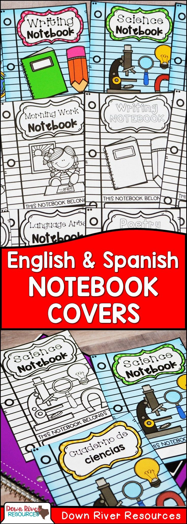 Interactive Notebook Covers | Notebook Covers | Journal Covers | Spanish Notebook Covers | English Notebook Covers | Covers for Notebooks | Classroom Organization | Notebook Labels | Math Notebook | Science Notebook | Language Arts Notebook | Social Studies Notebook