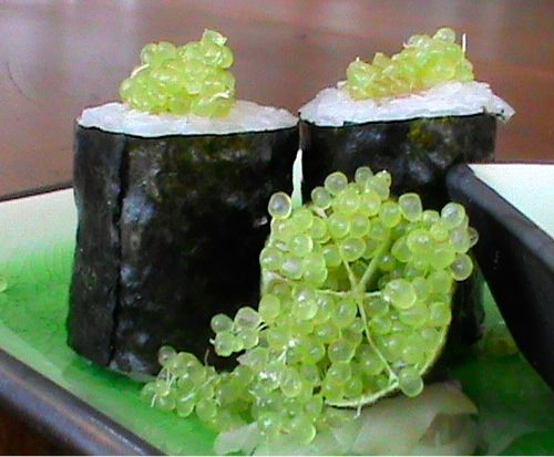 Sushi and Finger Lime.