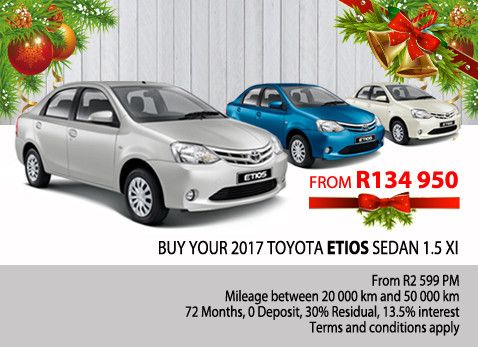 BUY YOUR 2017 TOYOTA ETIOS SEDAN 1.5 XI | From R2 599 per month. Mileage between 20 000km and 50 000km. No deposit, Available ferom dealership located in Gauteng, South Africa.