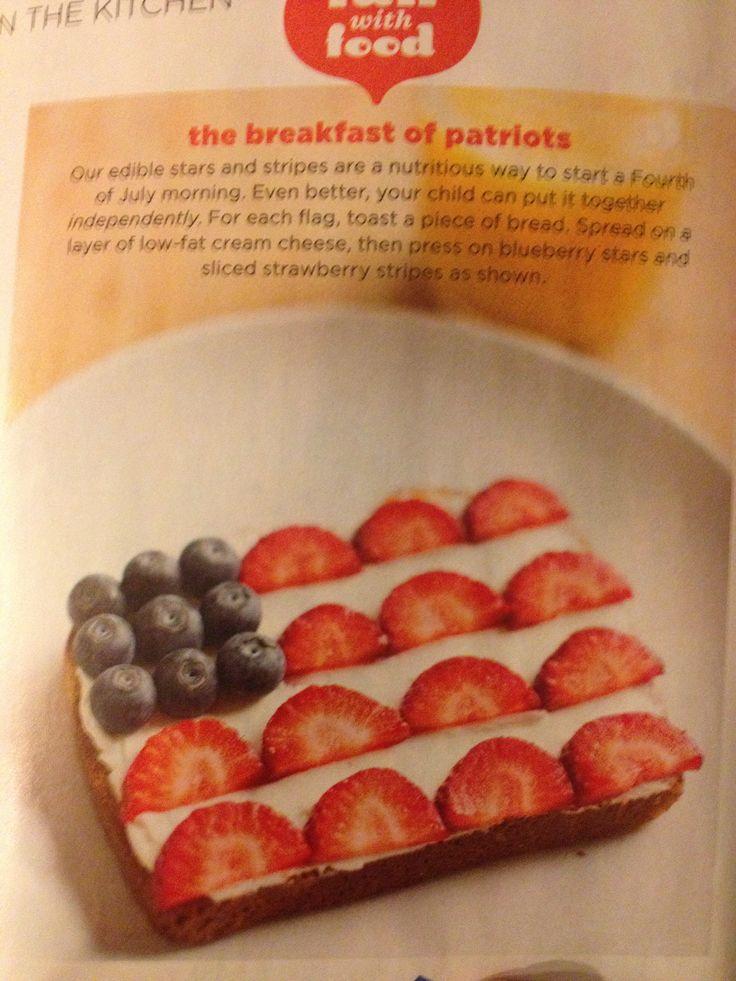 Toast, cream cheese & berries. Great kid breakfast.