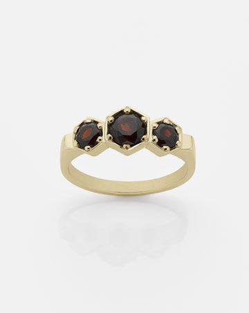 3 Hexagon Stone Ring