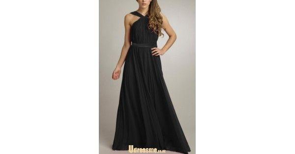 silhouette A-line       hemline/train Floor-length       neckline V-neck       fabric Chiffon       sleeve length Sleeveless       back details Backless       image color Black