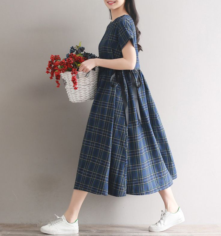 Christine linen cotton plaid tunic dress  #linen #loosepants #OnePiece #overalls #linendress #pants