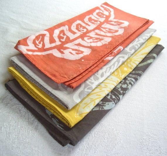 gray yellow orange napkin set #PinPantone