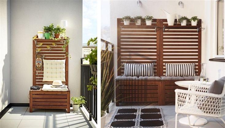 B nk med f rvaring s k p google balcony pinterest for Divisori giardino ikea