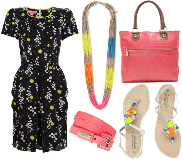Another neon look.: Things Fashion, Fashion Picks, Coral Accessories, Neon Dresses