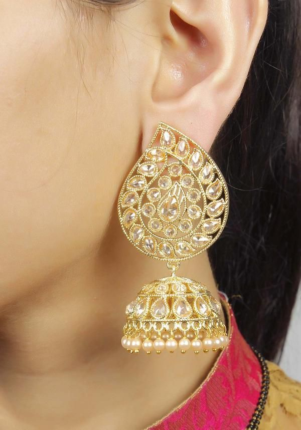 Beautiful! -https://www.cooliyo.com/product/87282/charm-look-gold-plated-jhumki-earrings/