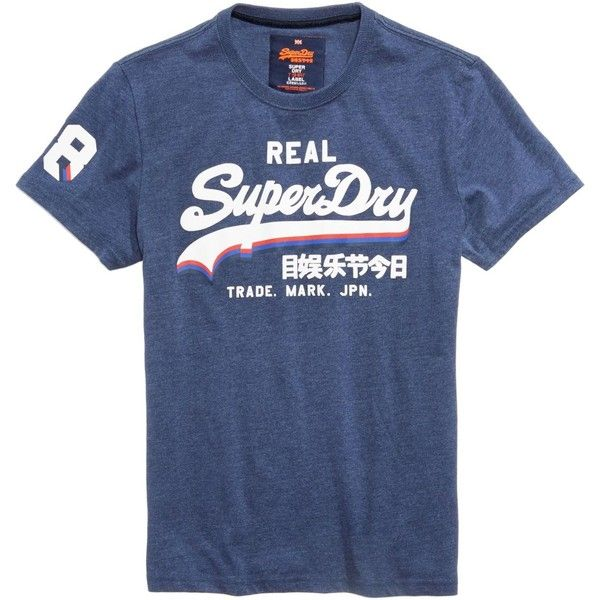Superdry Men's Vintage Logo-Print T-Shirt ($30) ❤ liked on Polyvore featuring men's fashion, men's clothing, men's shirts, men's t-shirts, princedom blue marl, mens retro shirts, superdry mens t shirts, superdry mens shirts, mens blue shirt and mens t shirts