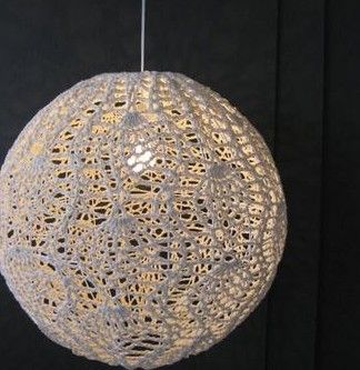Lámparas de ganchillo, artesanales, tejidas y teñidas. Haz tu pantalla tejida a crochet.