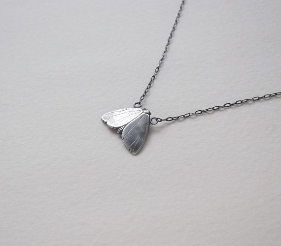Solid sterling silver 16.25 winter moth necklace with handmade clasp  A perfect companion for all of your winter woolens