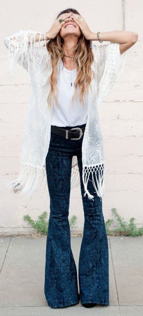 Flared jeans + white top