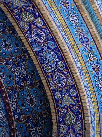 Tile detail of Iranian Mosque, Dubai, United Arab Emirates  by Phil Weymouth; I was told that Islam prohibits the representation of nature, hence the abstracts - not really flowers or leaves but overall that's the impression.  Intricate and mesmerizing.