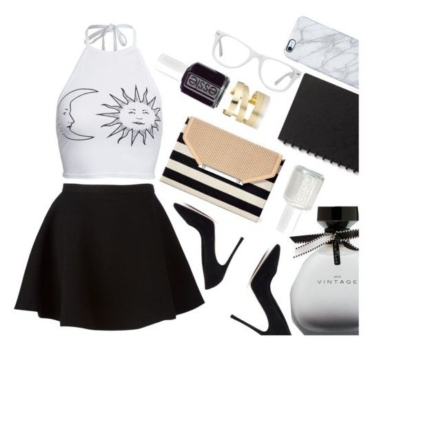"""""""Black on white"""" by lozforlife on Polyvore featuring Boohoo, Neil Barrett, Étoile Isabel Marant, Muse, Essie, Stella & Dot, American Eagle Outfitters, Uncommon and Gianvito Rossi"""