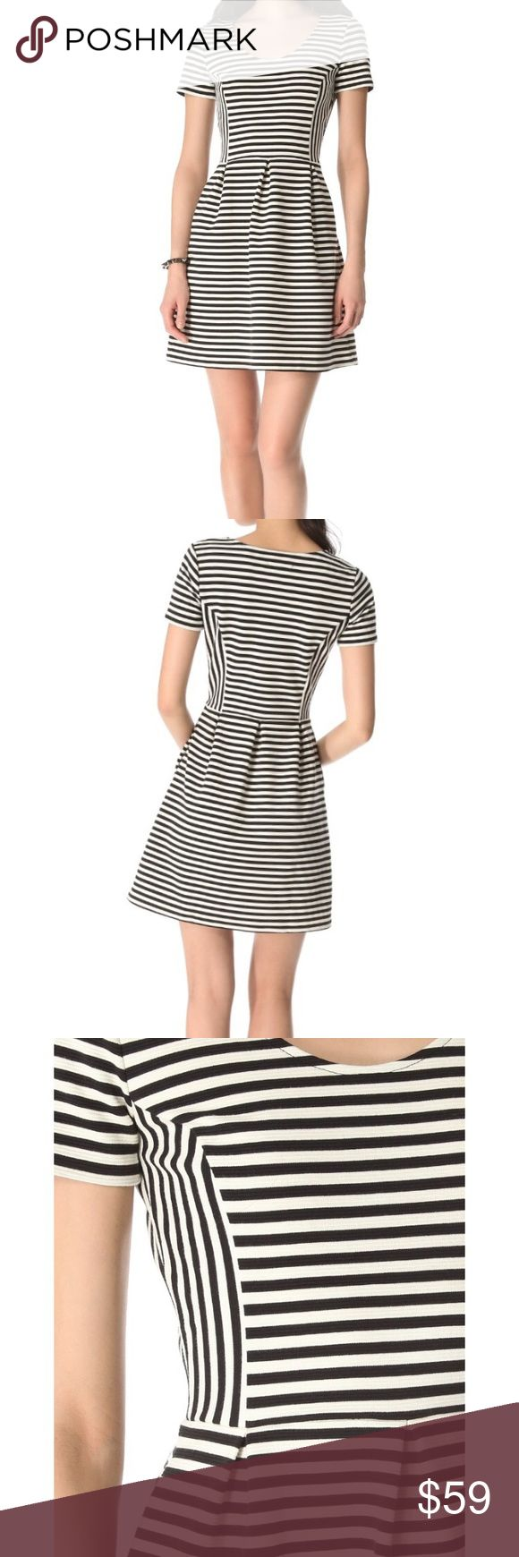 Madewell Dress Bold stripes bring graphic perspective to a beautifully classic Madewell dress. Princess seams contour the fitted bodice, and inverted pleats add a hint of volume to the skirt. Perfect for any season, wear with tights and a jacket in winter and your favorite sandals in the spring! Has pockets!  Lovely Mid-weight jersey with just the right thickness and stretch. Hidden side zip. Length is approx 33in from shoulder. Only worn once! Excellent like new condition! Make an offer…