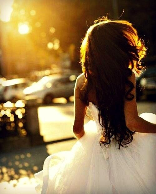 wedding day, long hair