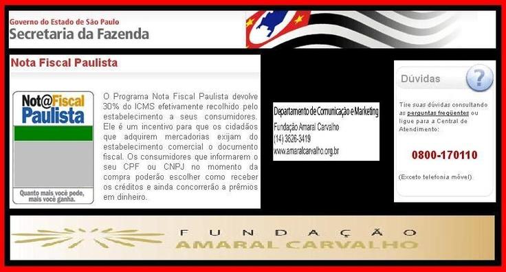 Nota Fiscal Paulista em prol do   Hospital Amaral Carvalho http://sergioempretec.blogspot.com.br/2012/12/nota-fiscal-paulista-em-prol-do.html \\\ http://www.facebook.com/photo.php?fbid=473407796035327=a.202467183129391.48306.100000983321967=3 \\\ https://picasaweb.google.com/116173526373361728366/DOADORAOUDOADOR#5819508425555584482