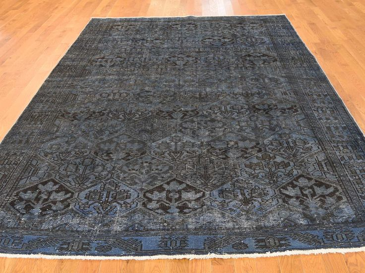6'8''x9'10'' #Hand-Knotted #Overdyed #Persian #Bakhtiari #Oriental #Rug #sale #Rug-store #black #home-decor