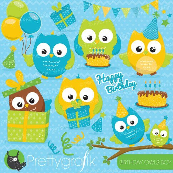 BUY20GET10 - Birthday owls boys, clipart commercial use ...