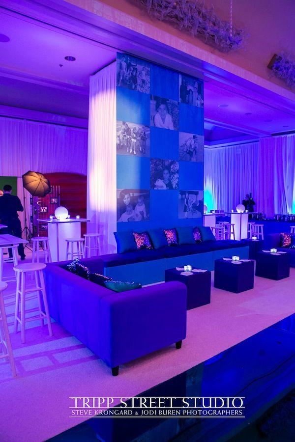 Bat Mitzvah Teen Lounge - Blue, Purple, Glitter & Sequins (The Event of a Lifetime) - mazelmoments.com