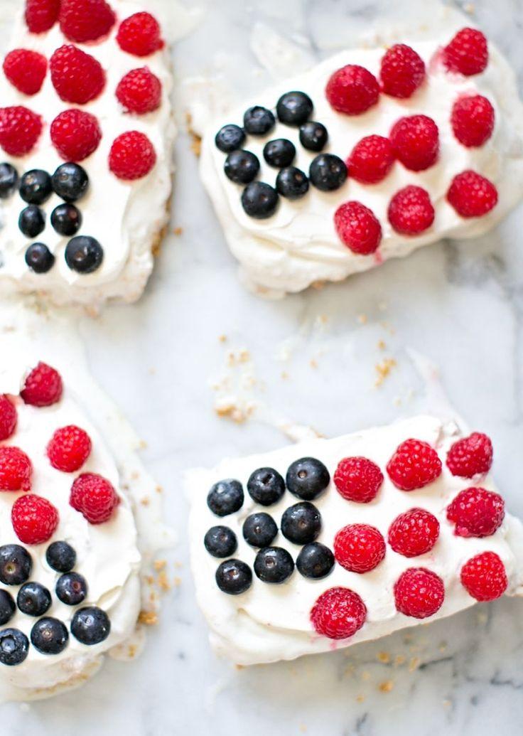 Mini flag ice cream cakes.