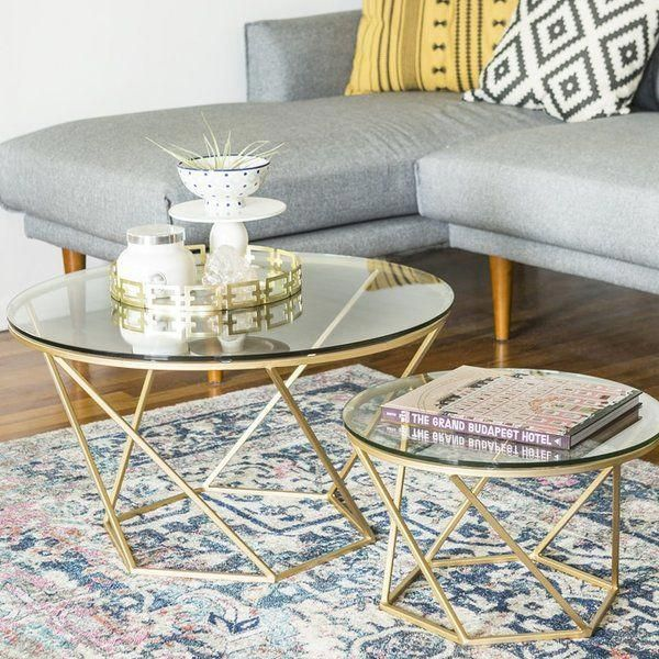 Adrianna 2 Piece Coffee Table Set With Images Coffee Table Gold Coffee Table Nesting Coffee Tables